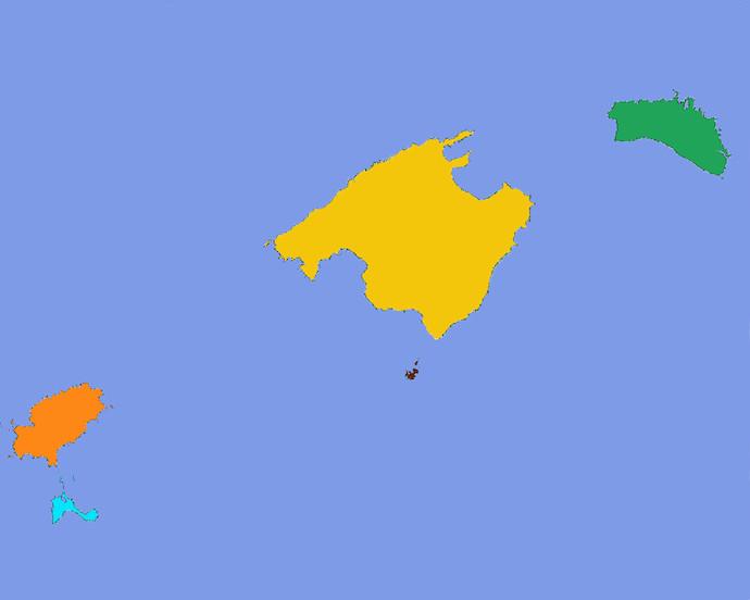 Mapa Baleares de colores